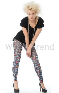Hotlook Leggings mit Totenkopfmuster